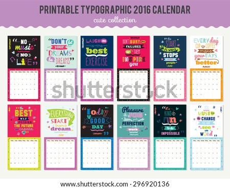 cute calendar template for 2016
