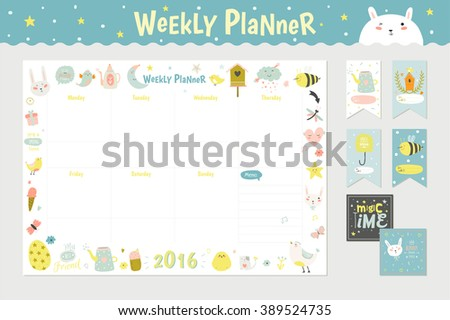 Cute printable weekly calendar vector download free vector art cute calendar weekly planner template for 2016 beautiful diary with vector character and funny kids pronofoot35fo Choice Image