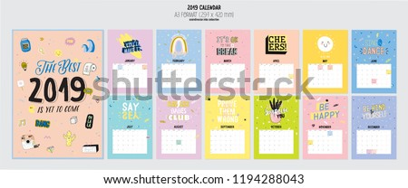 Cute 2019 Calendar. Yearly Planner Calendar with all Months. Good Organizer and Schedule. Trendy illustration with girl power elements and typography. Vector background