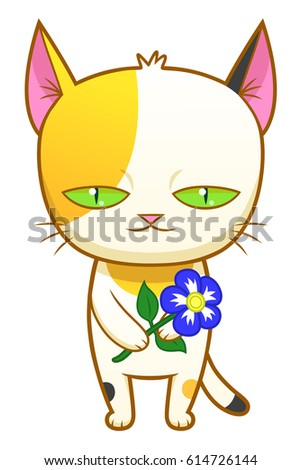cute calico kitten holds flower