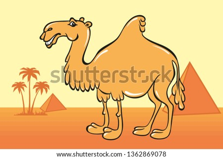Cute camel cartoon on the background of desert, Egyptian pyramids and palm trees. Illustration.