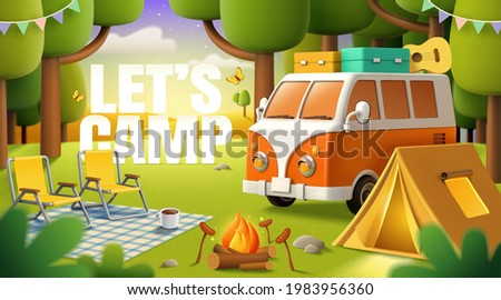 Cute camper van, tent, bonfire and outdoor picnic equipment settled in the forest. Concept of wanderlust, travel, and camping adventure. 3d illustration.