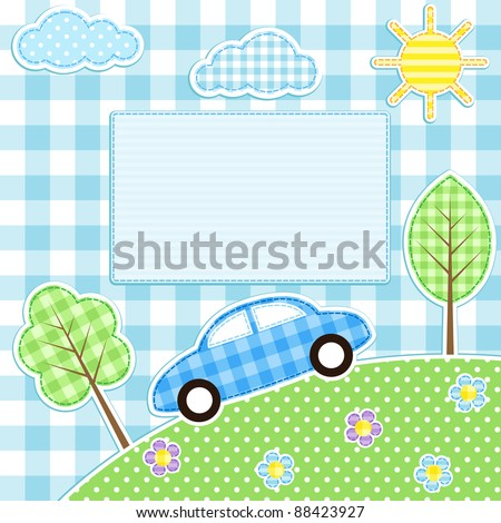 cute car  flowers  trees
