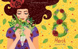 cute card, banner, poster for the holiday of women's day on March 8, vector illustration of a portrait of a beautiful girl with a bouquet of flowers