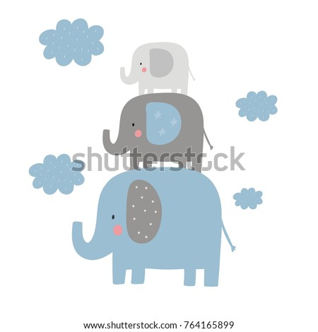 Cute card for Baby Shower with elephant