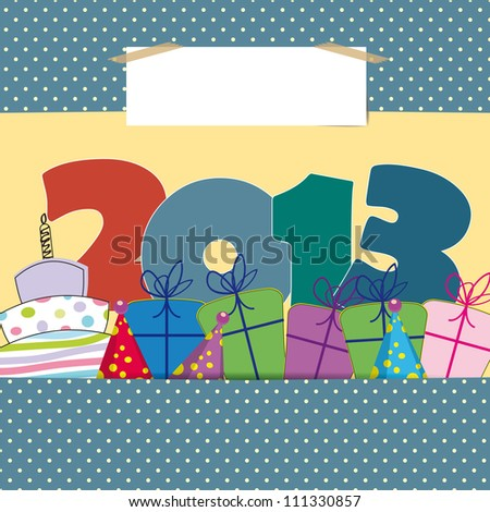 Cute card on New Year 2013 with funny numbers