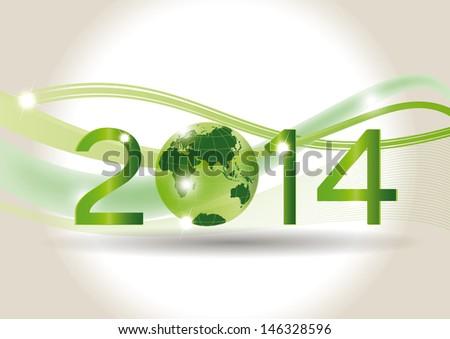 Cute card on 2014 year with green globe