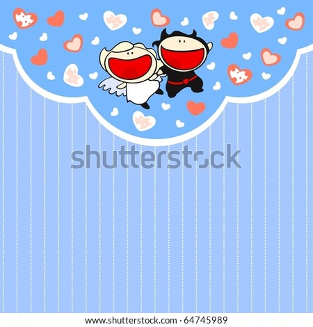 Cute card with angel and devil couple