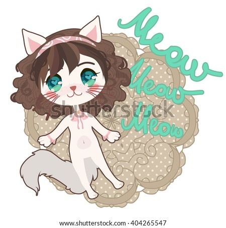 cute card with anime chibi cat
