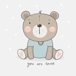 Cute card with bear baby