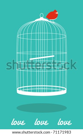 cute card with bird out of the cage - stock vector