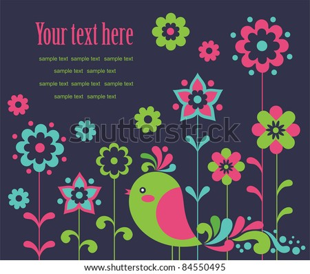 cute card with deco bird. vector illustration