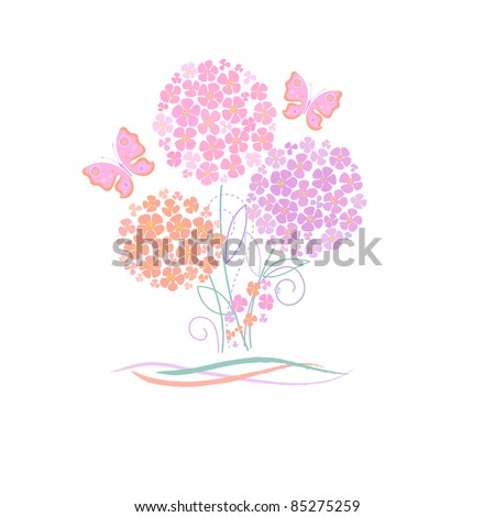 cute card with flowers and butterfly