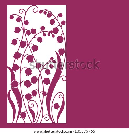 Cute card with flowers . lily of the valley - stock vector