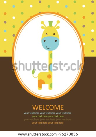 cute card with giraffe. vector illustration