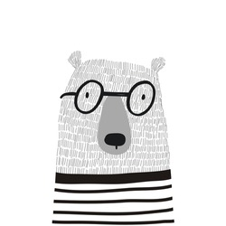 Cute card with hand drawn bear