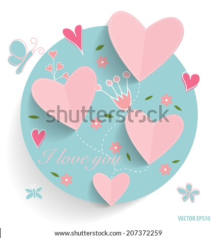 cute card with heart and floral