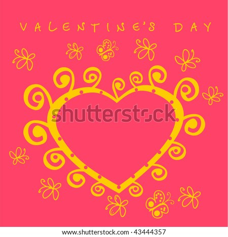 stock vector : cute card with heart, butterfly and valentine's day sign