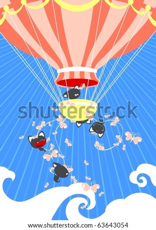 Cute card with kittens flying high