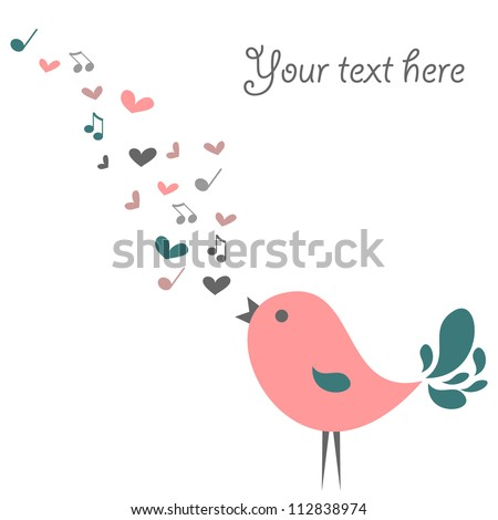 Cute card with little bird singing