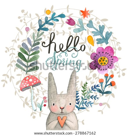 cute card with lovely rabbit