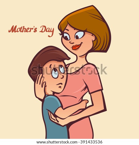 cute card with mother and child, for your design Mother's day greeting card, cartoon character, color vector illustration