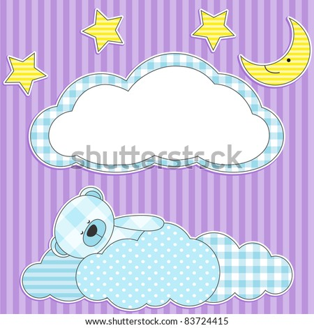 cute card with sleeping blue