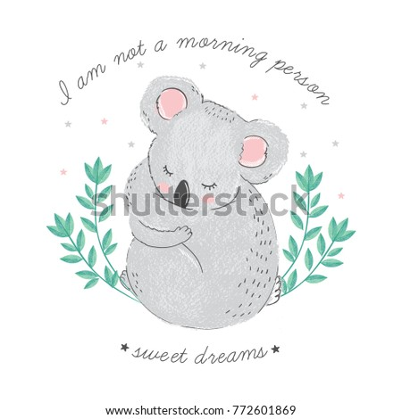 cute card with sleeping koala