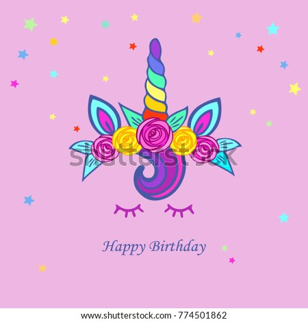 Cute card with Unicorn tiara, rainbow horn and floweres. Template for party invitation, greeting and love you card. Vector invitation isolated on pink background. Postcard motive.