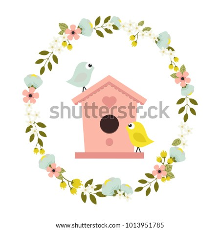 cute card with wreath of flowers and leaves, birdhouse and birds, festive flower background