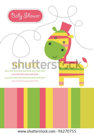 cute card with zebra. vector illustration