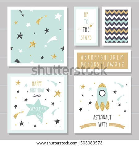 cute cards with gold confetti