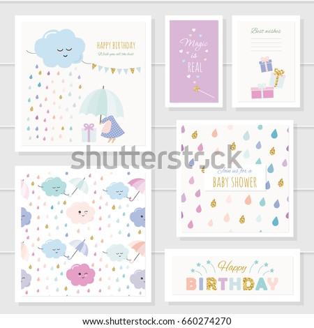 cute cards with gold glitter