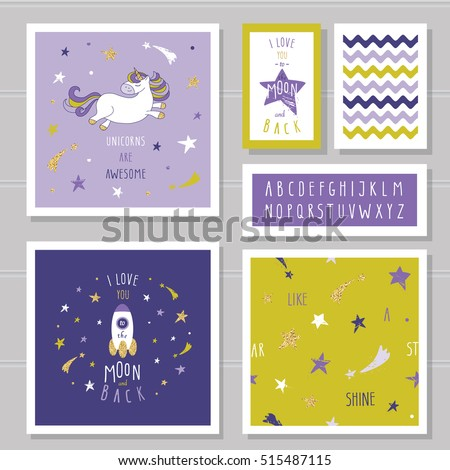 cute cards with unicorn and