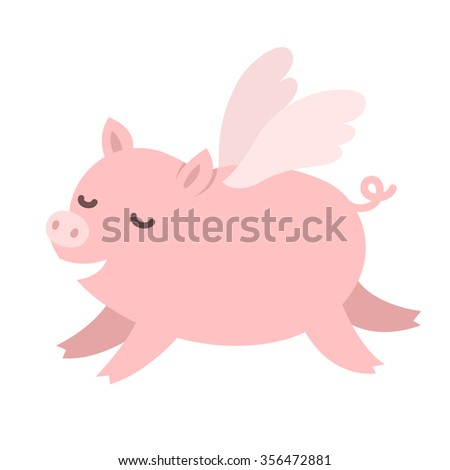 cute carton pig with wings
