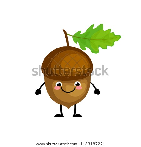 Cute cartoon acorn characters vector illustration isolated on white background.