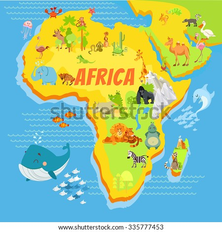 stock vector cute cartoon africa continent map with mountains rivers trees and animals vector illustration for 335777453 - Каталог — Фотообои «Для детской»