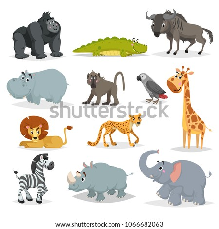 Cute cartoon african animals set. Gorilla ape, crocodile, wildebeest, hippo, baboon, grey parrot, giraffe, lion, cheetah, zebra, rhino and elephant. Jungle, savannah and wildlife vector.
