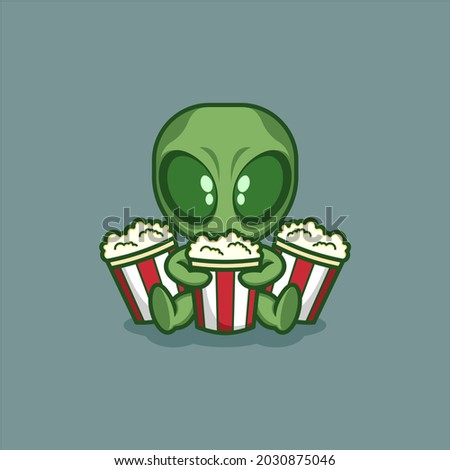 cute cartoon alien is with
