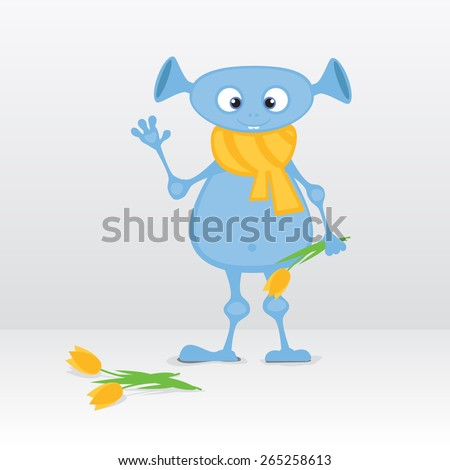 Cute cartoon alien with tulips