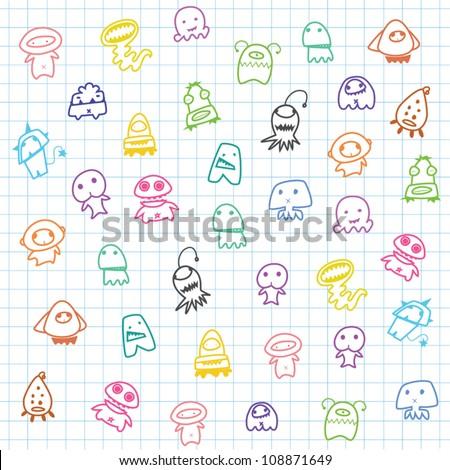 cute cartoon Aliens,lovely background for children