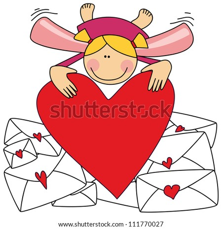Cute cartoon angel with one big heart in hands and envelopes