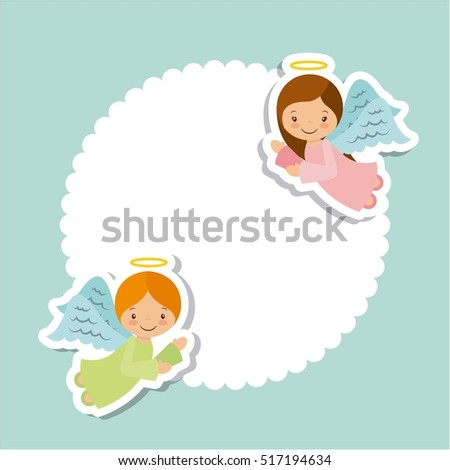 cute cartoon angels card over