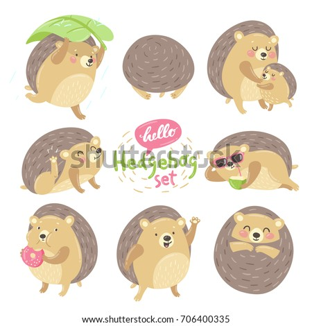 Cute cartoon animal character lovely sweet hedgehog various emotions: summer fun, beach party, mother and child, sleepy, hello friends, yummy face, thank you. Vector set isolated on white background.