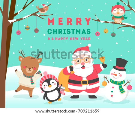 Cute cartoon animals and santa claus for christmas and new year card design