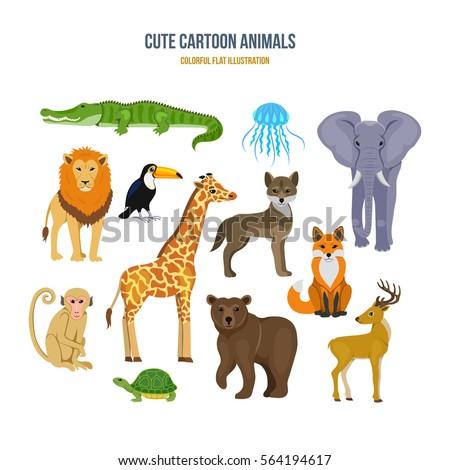 Cute cartoon animals concept. Among the animals: crocodile, jellyfish, elephant, lion, toucan, wolf, fox, deer, bear, giraffe, turtle, monkey. Colorful flat illustration.