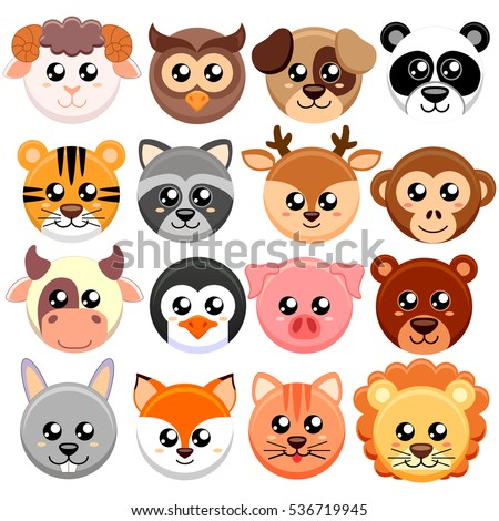 cute cartoon animals head round