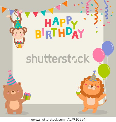 Cute Cartoon Animals Illustration With Copy Space For Birthday