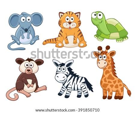 cute cartoon animals isolated