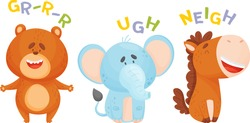 Cute Cartoon Animals Making Sounds Vector Illustrations Set